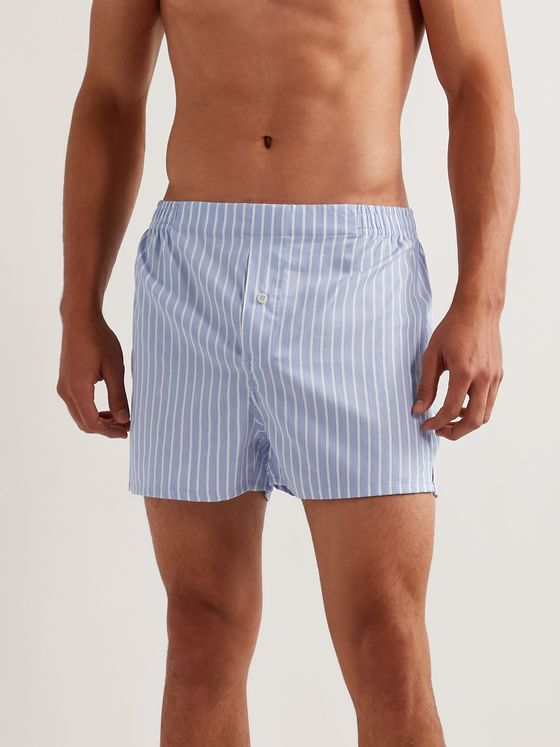 Hamilton and Hare Striped Cotton Boxer Shorts