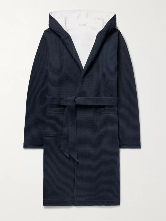 Hamilton and Hare Waffle-Knit Cotton Hooded Robe