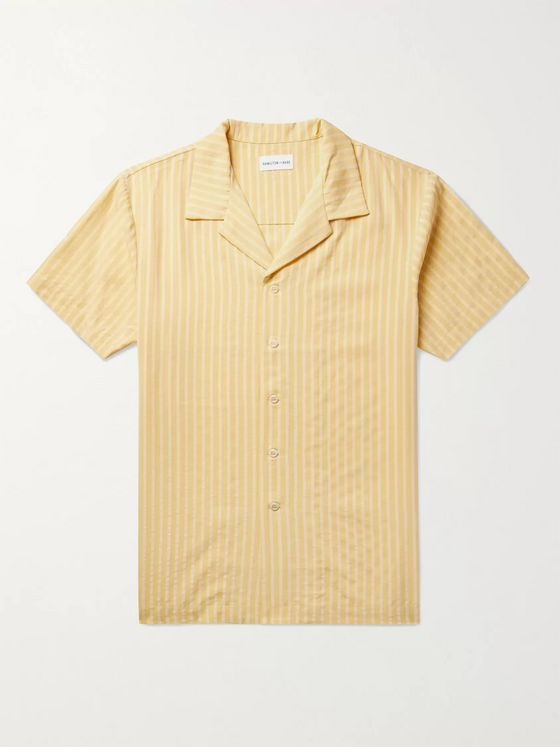 Hamilton and Hare Camp-Collar Striped Lyocell-Jacquard Pyjama Shirt