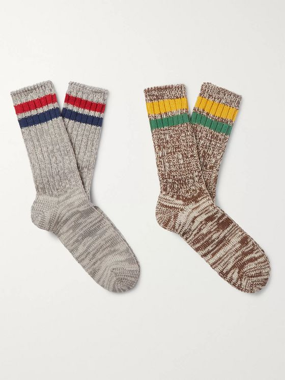 Anonymous Ism Two-Pack Striped Mélange Cable-Knit Socks