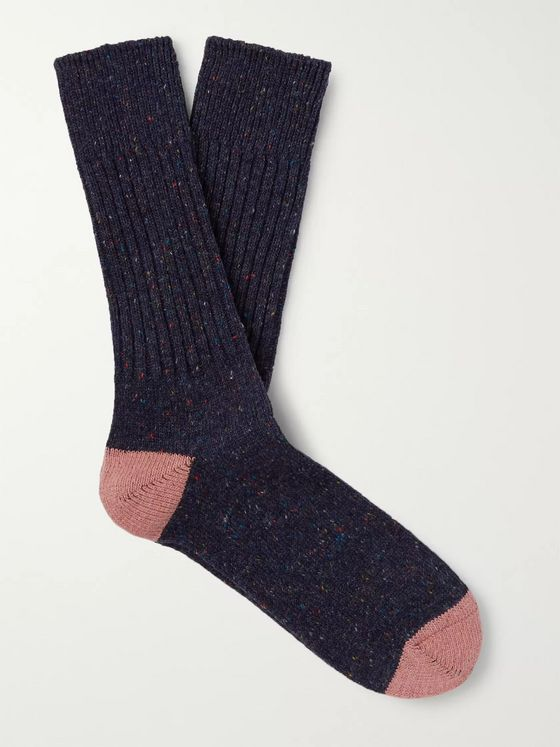 Anonymous Ism Flecked Ribbed Knitted Socks