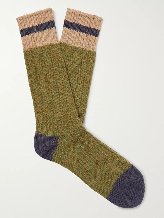 Anonymous Ism Mélange Cable-Knitted Socks