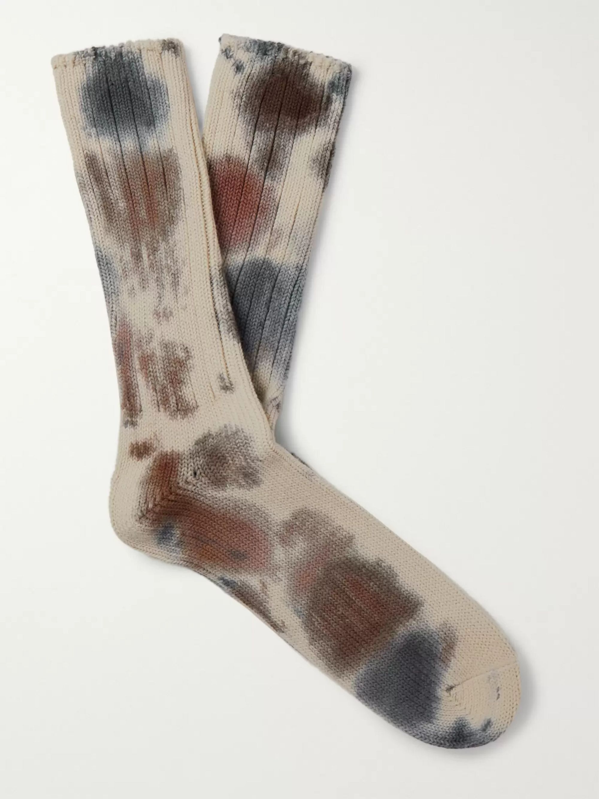Anonymous Ism Ribbed Tie-Dyed Cotton-Blend Socks
