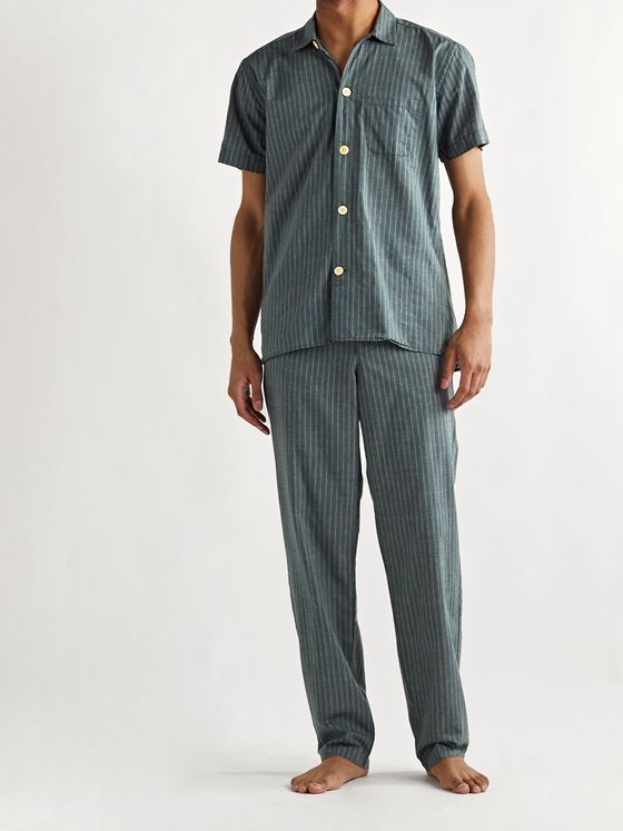 Oliver Spencer Loungewear Townsend Striped Organic Cotton Pyjama Shirt