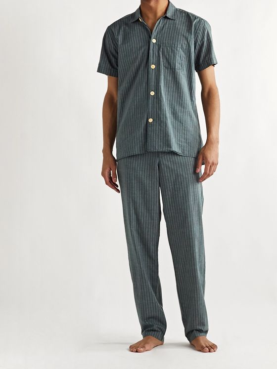 Oliver Spencer Loungewear Townsend Striped Organic Cotton Pyjama Trousers