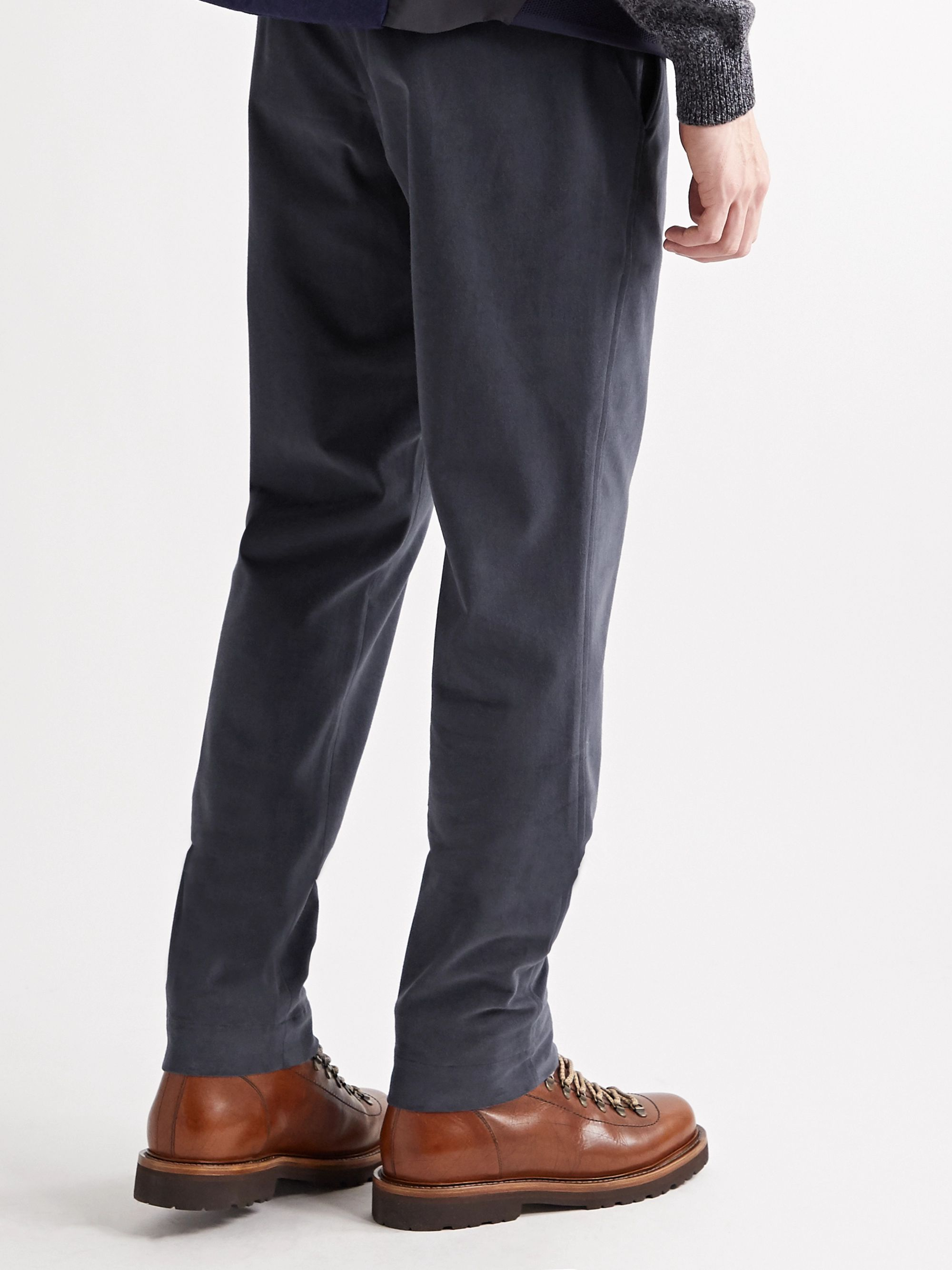 SEASE Mindset Slim-Fit Tapered Brushed Stretch-Cotton Twill Drawstring Trousers