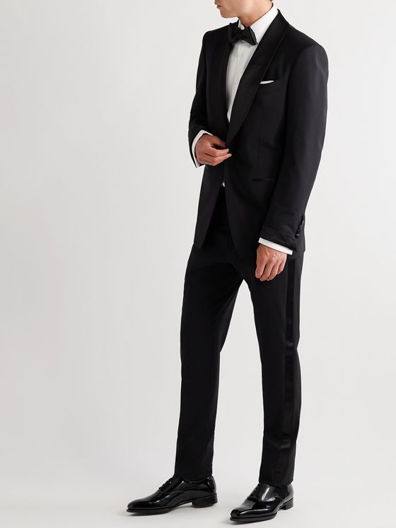 TOM FORD Slim-Fit Satin-Trimmed Stretch-Wool Tuxedo Trousers