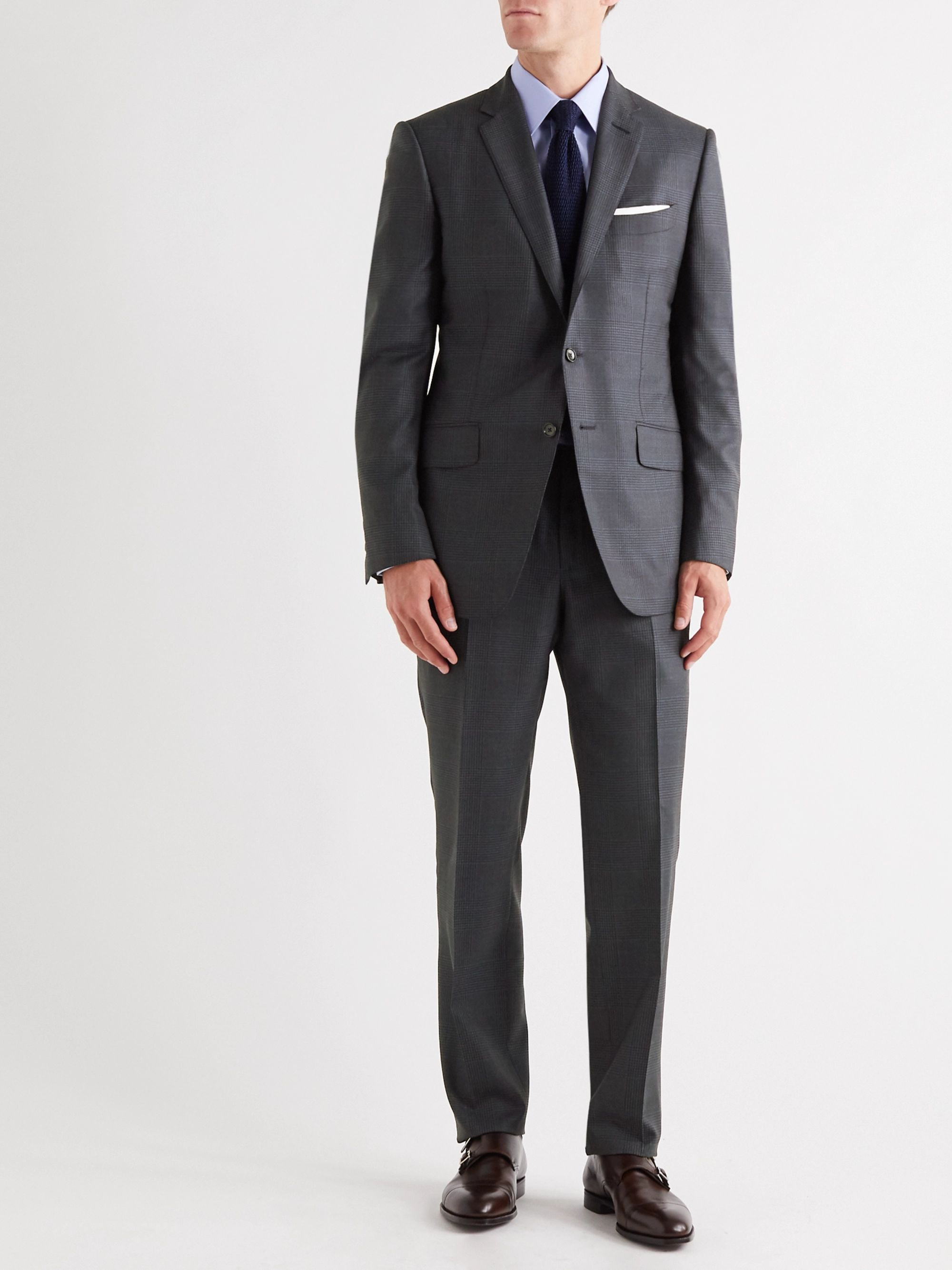 TOM FORD O'Connor Slim-Fit Prince of Wales Checked Wool and Silk-Blend Suit Jacket