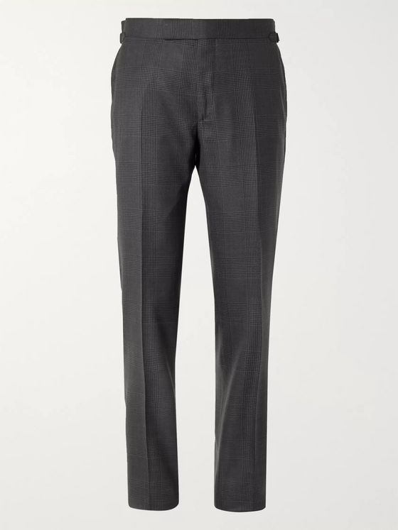 TOM FORD Slim-Fit Prince of Wales Checked Wool and Silk-Blend Suit Trousers
