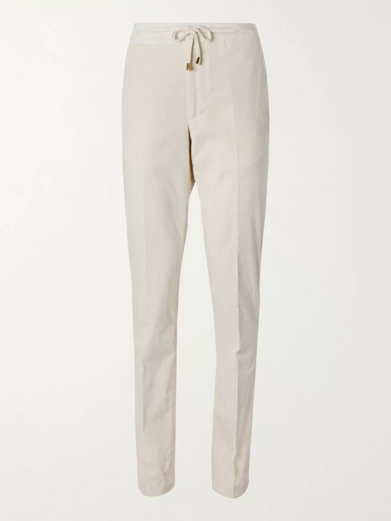 De Petrillo Slim-Fit Stretch-Cotton Corduroy Drawstring Trousers