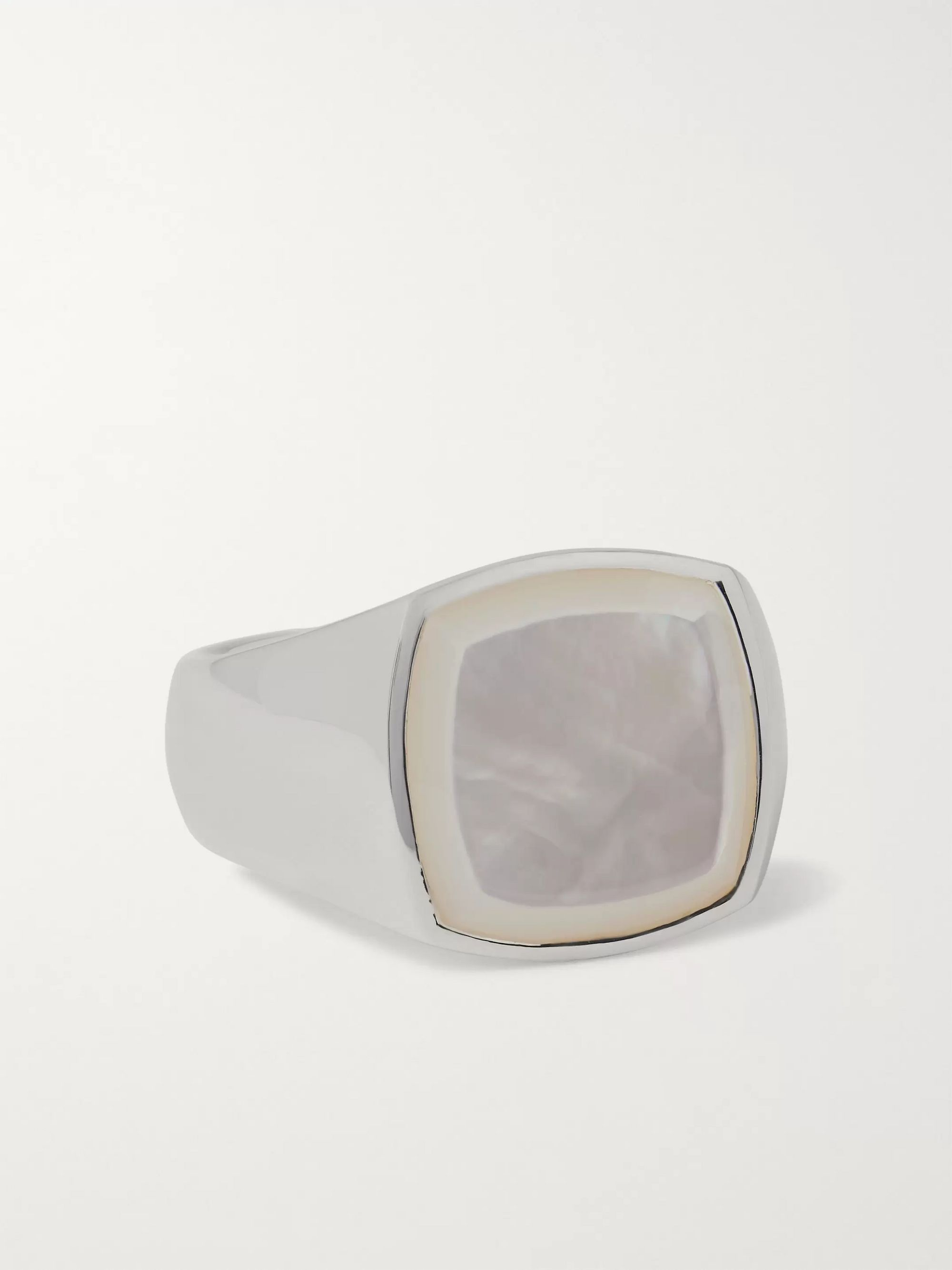TOM WOOD Sterling Silver Mother-of-Pearl Signet Ring