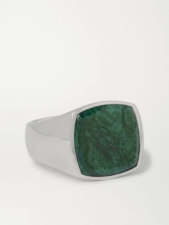 Tom Wood Sterling Silver Marble Signet Ring