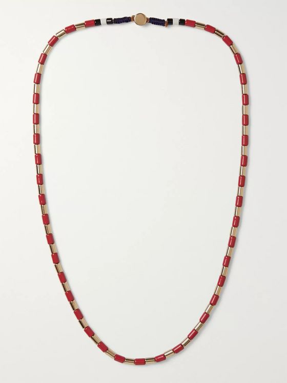 Roxanne Assoulin Gilded U-Tube Enamel and Gold-Tone Necklace