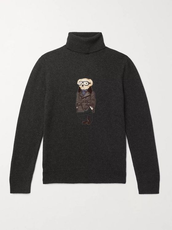 Ralph Lauren Purple Label Bear-Appliquéd Melangé Cashmere Rollneck Sweater