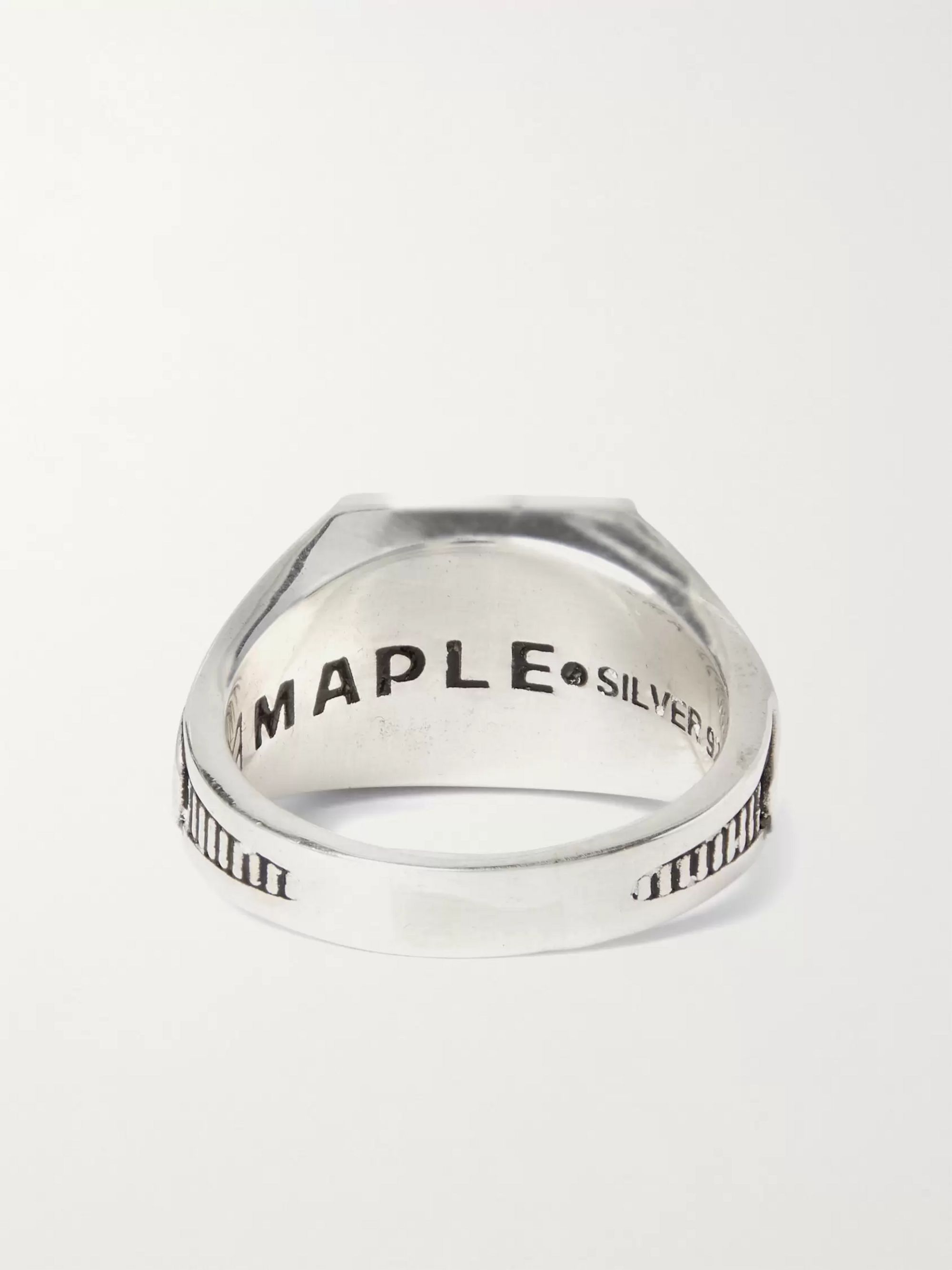 MAPLE Collegiate Engraved Sterling Silver and Gold-Plated Garnet Signet Ring