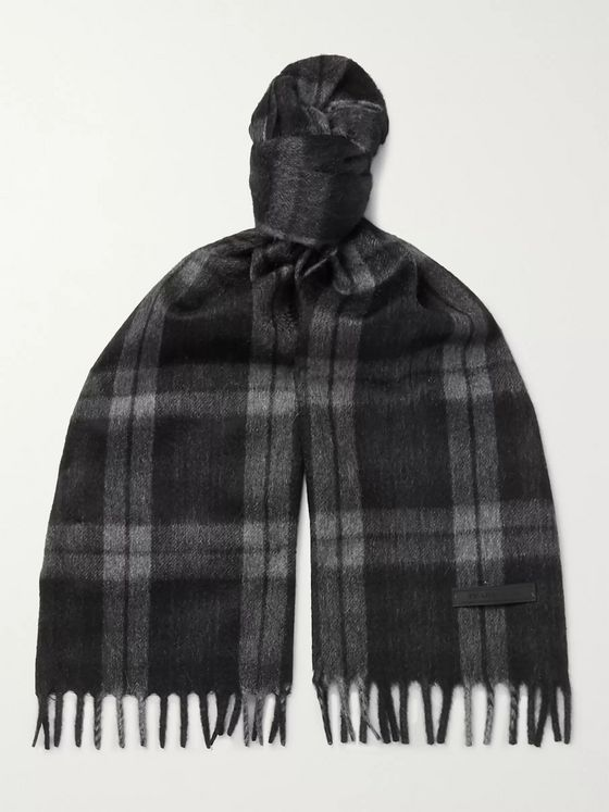 Prada Fringed Checked Cashmere Scarf