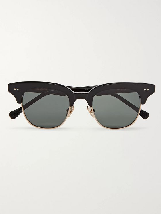 Native Sons Newman Square-Frame Silver-Tone and Acetate Sunglasses