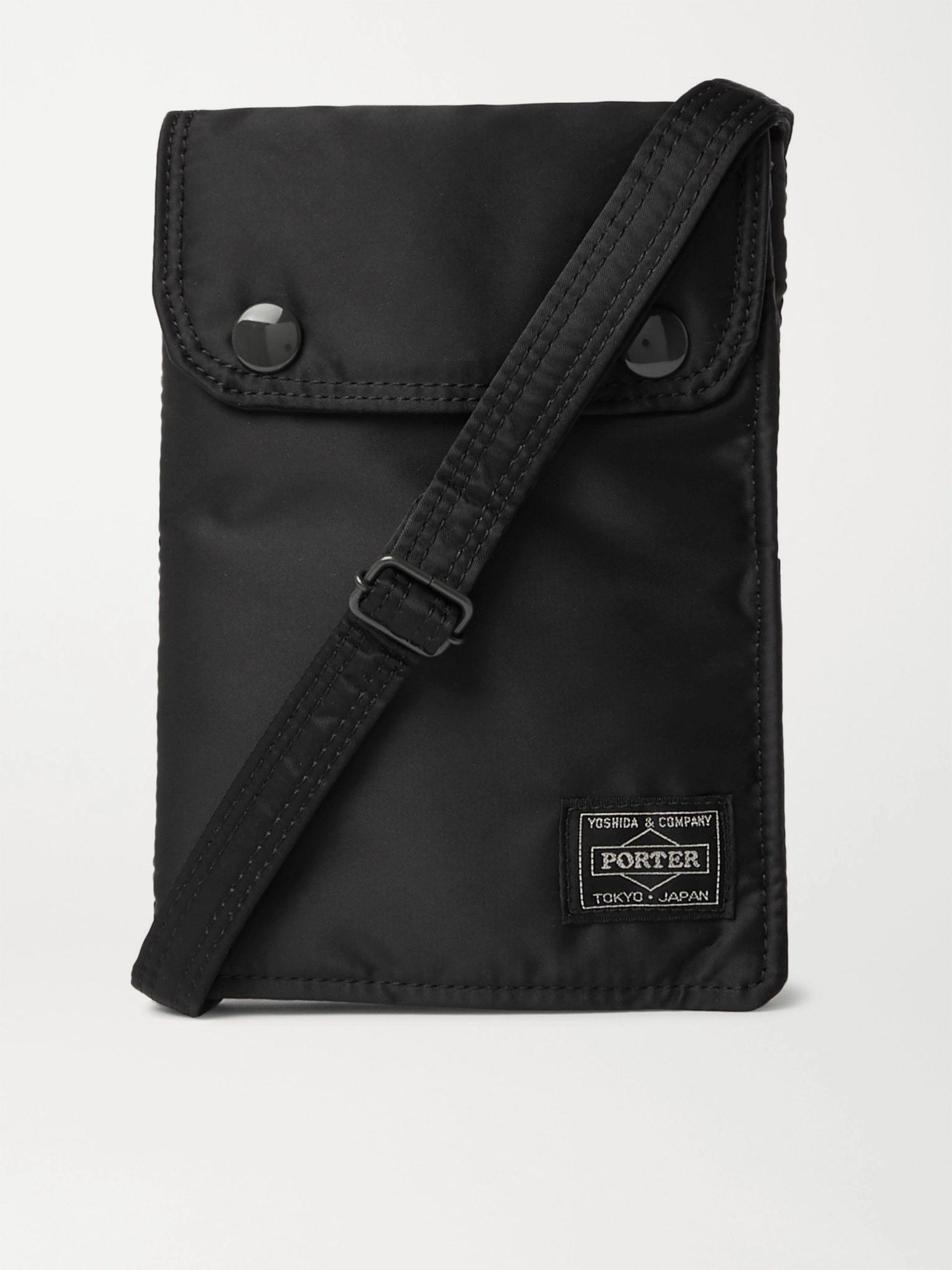 PORTER-YOSHIDA & CO Tanker Padded Nylon Messenger Bag,Black