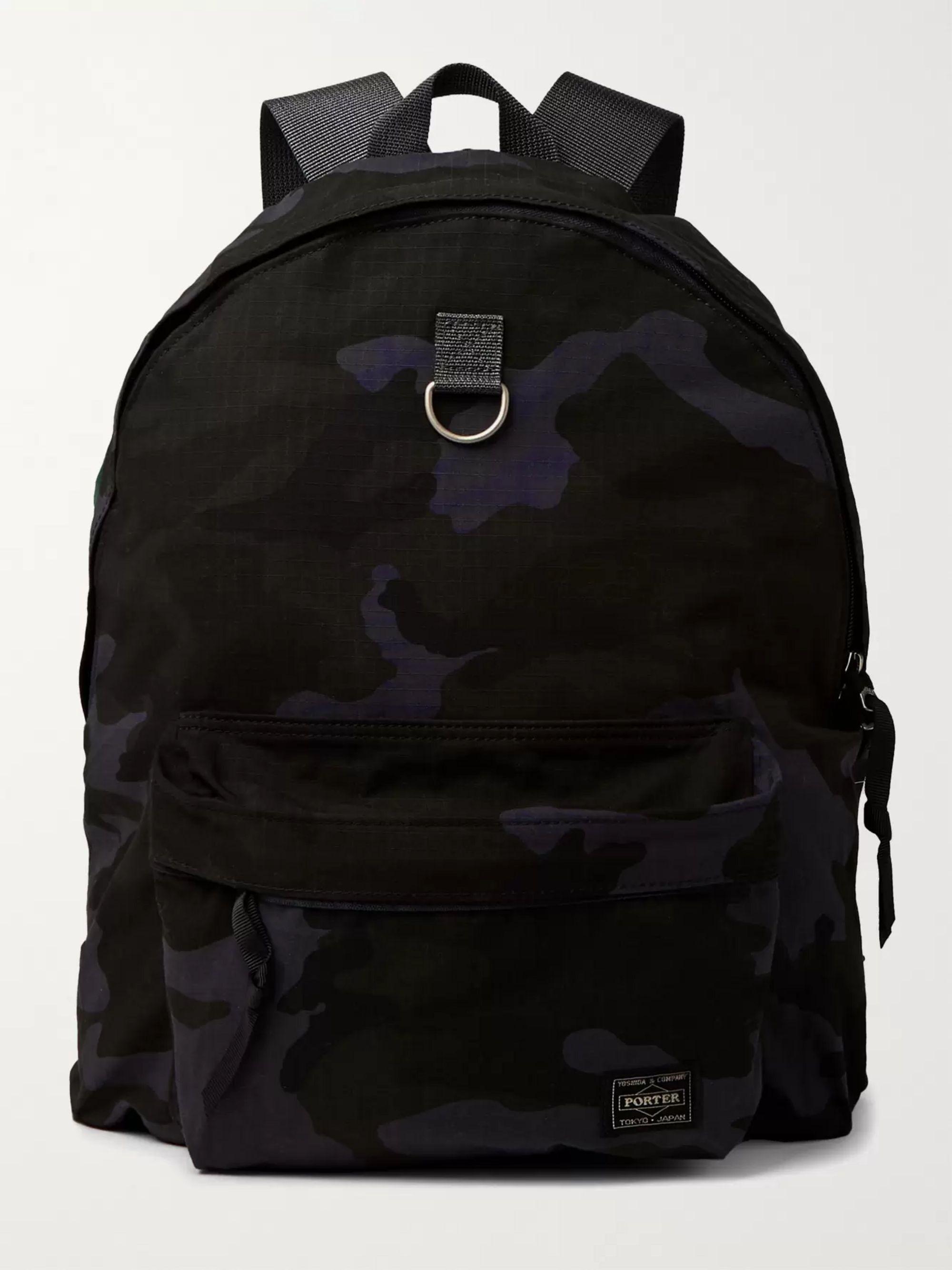 PORTER-YOSHIDA & CO Camouflage-Print Cordura Nylon and Cotton-Ripstop Backpack,Navy