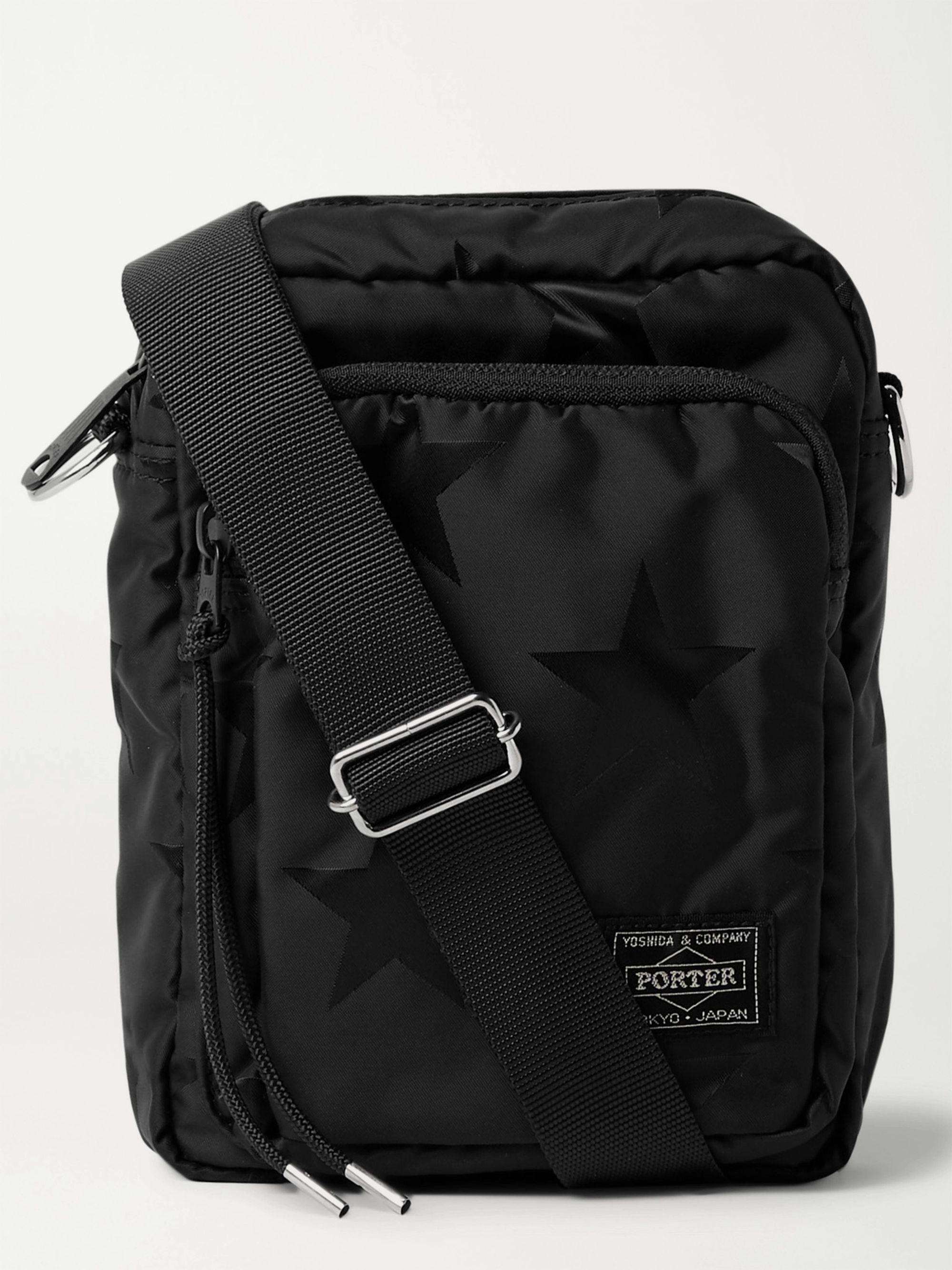 PORTER-YOSHIDA & CO Star-Print Nylon Messenger Bag,Black
