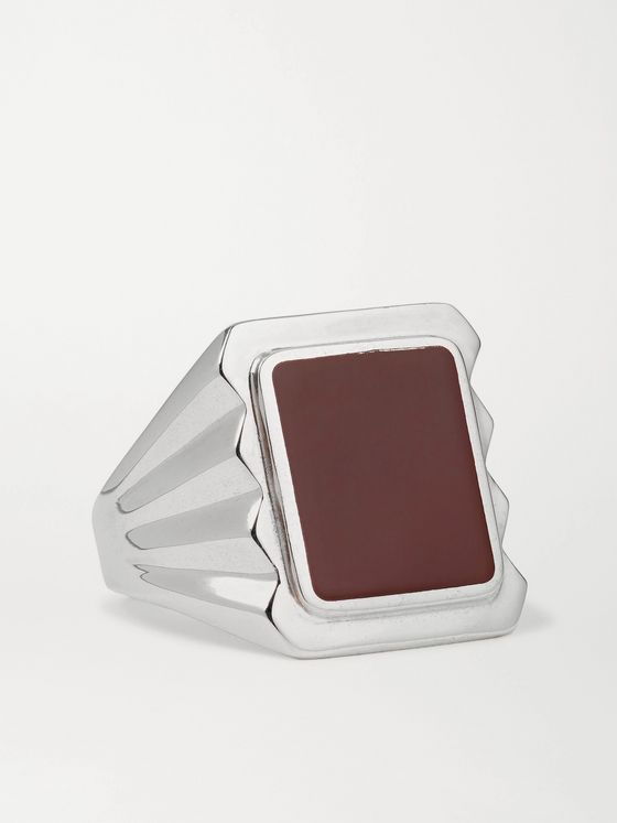 BOTTEGA VENETA Sterling Silver and Stone Signet Ring