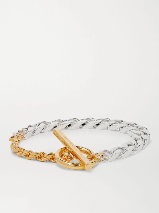 BOTTEGA VENETA Sterling Silver and Gold-Tone Chain Bracelet
