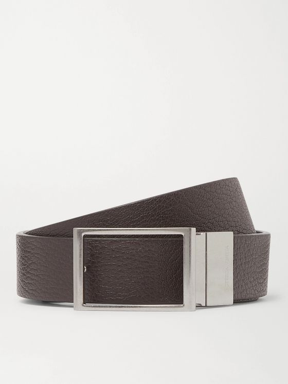 BOTTEGA VENETA 3cm Reversible Textured-Leather Belt