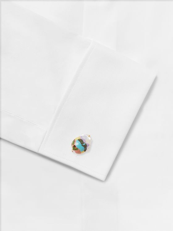 Bottega Veneta Painted Mother-of-Pearl Gold-Tone Cufflinks
