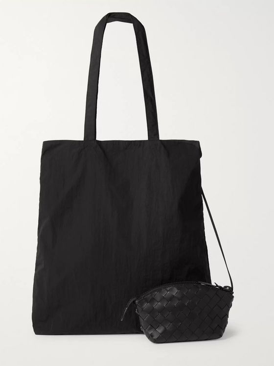 Bottega Veneta Intrecciato Leather Pouch with Nylon Tote Bag