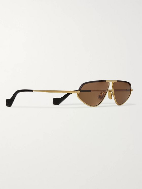Loewe Aviator-Style Leather-Trimmed Gold-Tone Sunglasses