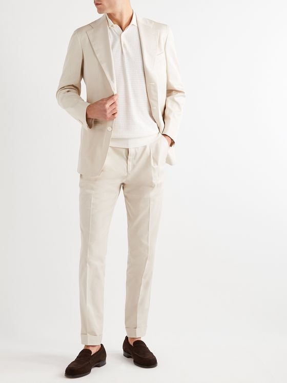 SAMAN AMEL Pleated Cotton Suit Trousers