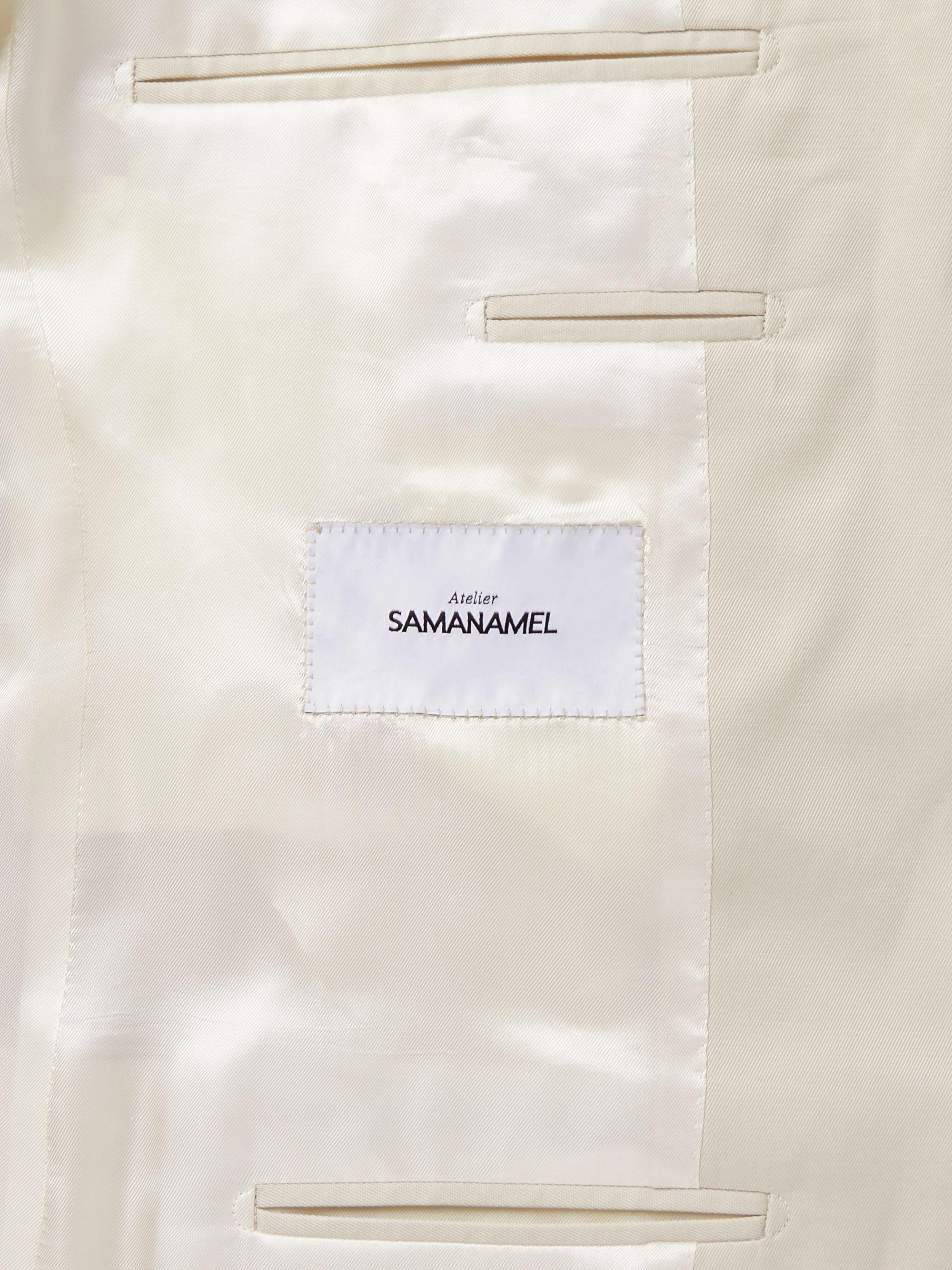 Beige Slim-fit Cotton Suit Jacket | Saman Amel