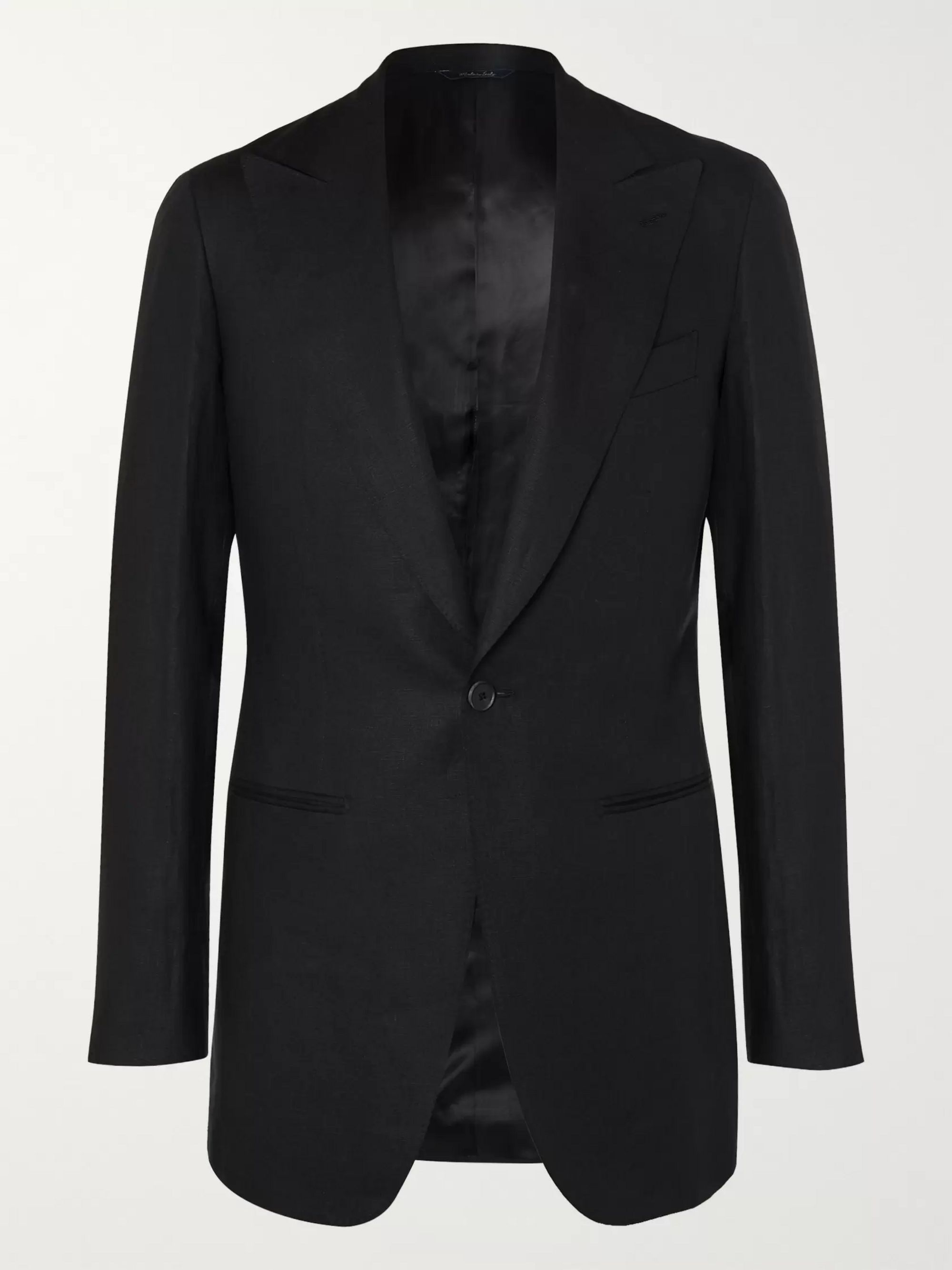 SAMAN AMEL Black Linen Suit Jacket