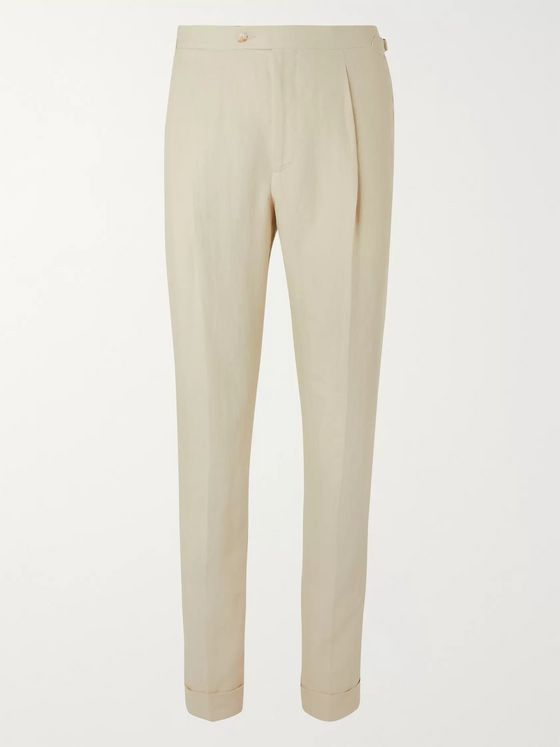 SAMAN AMEL Tapered Linen Suit Trousers