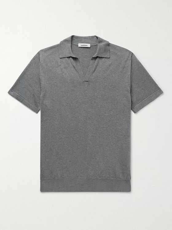 SAMAN AMEL Slim-Fit Melangé Cotton Polo Shirt