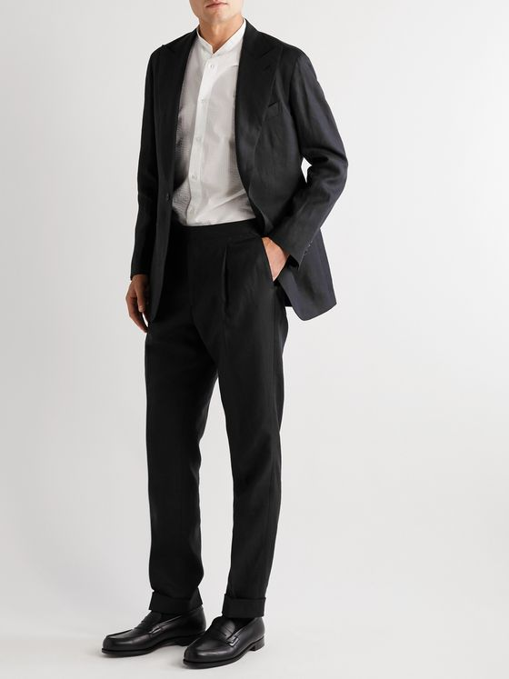 SAMAN AMEL Black Tapered Pleated Linen Suit Trousers