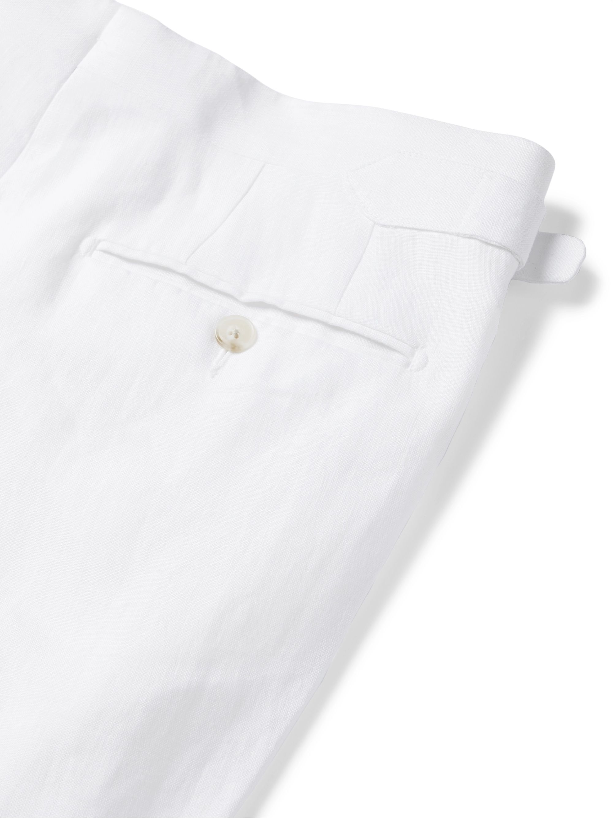 White Tapered Pleated Linen Trousers | Saman Amel