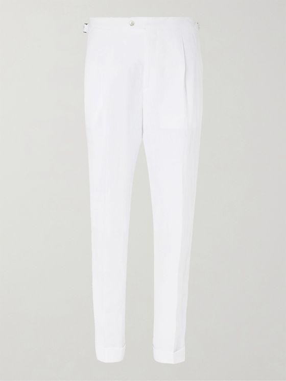 Saman Amel Tapered Pleated Linen Trousers