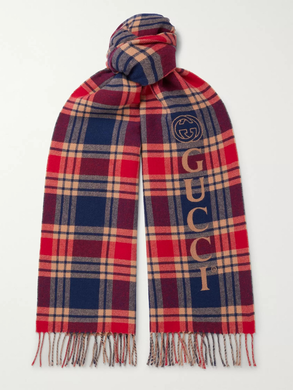 Gucci REVERSIBLE CHECKED LOGO-INTARSIA FRINGED WOOL AND CASHMERE-BLEND SCARF