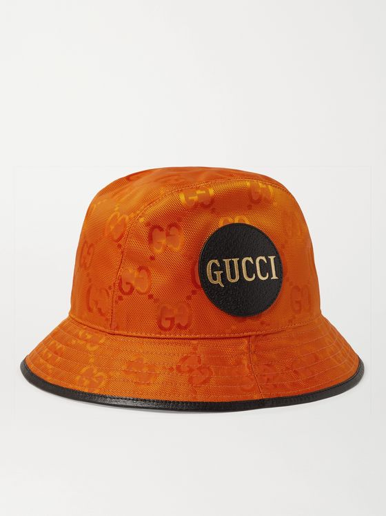 GUCCI Logo-Appliquéd Leather-Trimmed ECONYL Bucket Hat