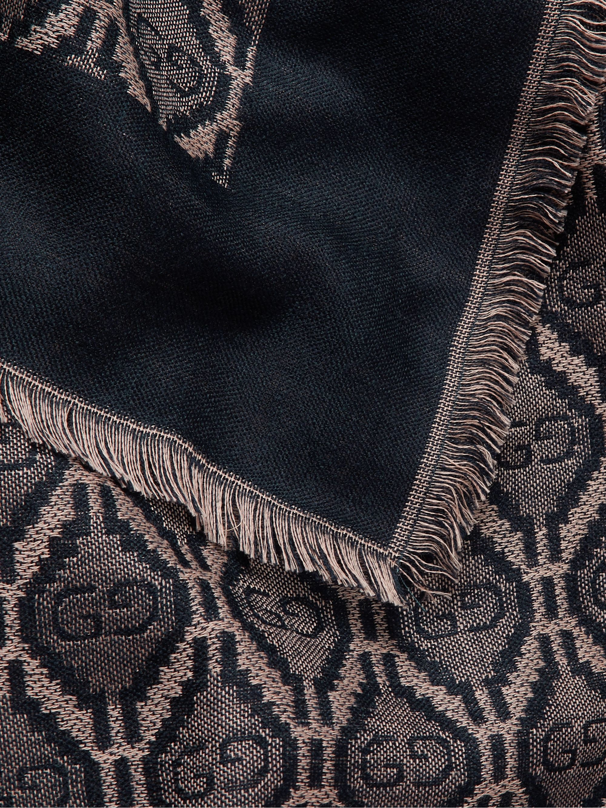 Gucci Fringed Logo-Jacquard Cotton, Wool and Silk-Blend Scarf