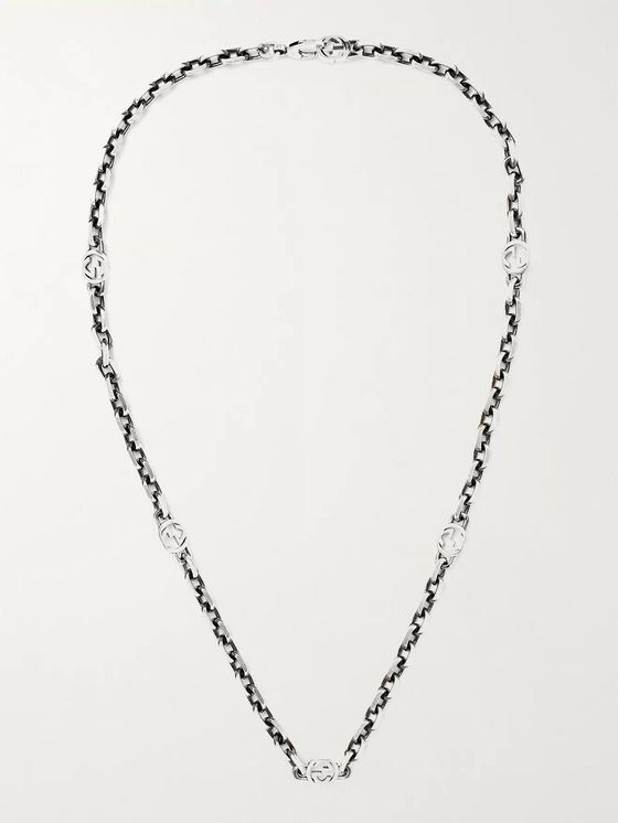 GUCCI Burnished Sterling Silver Necklace