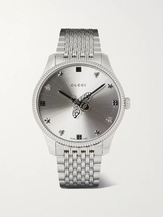 GUCCI G-Timeless 36mm Stainless Steel Watch