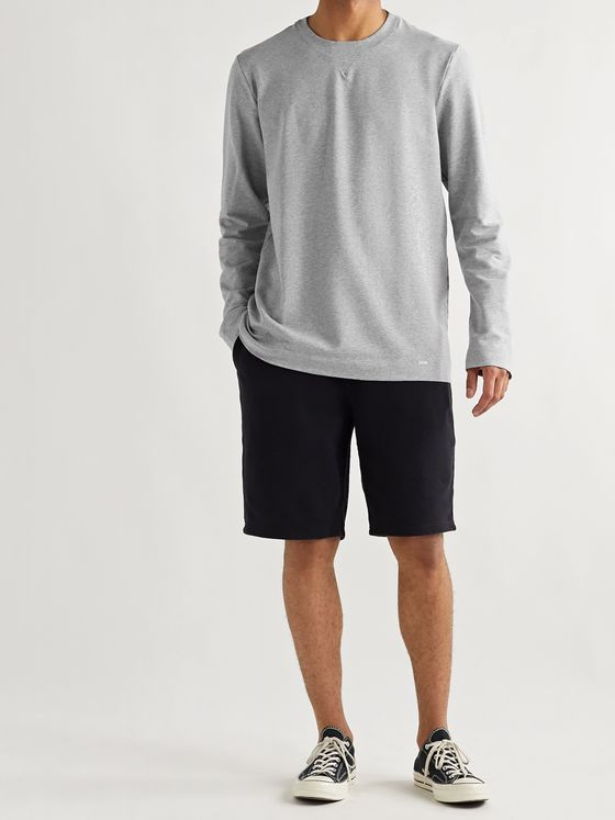 Hanro Leisure Mélange Loopback Stretch Cotton-Jersey Sweatshirt