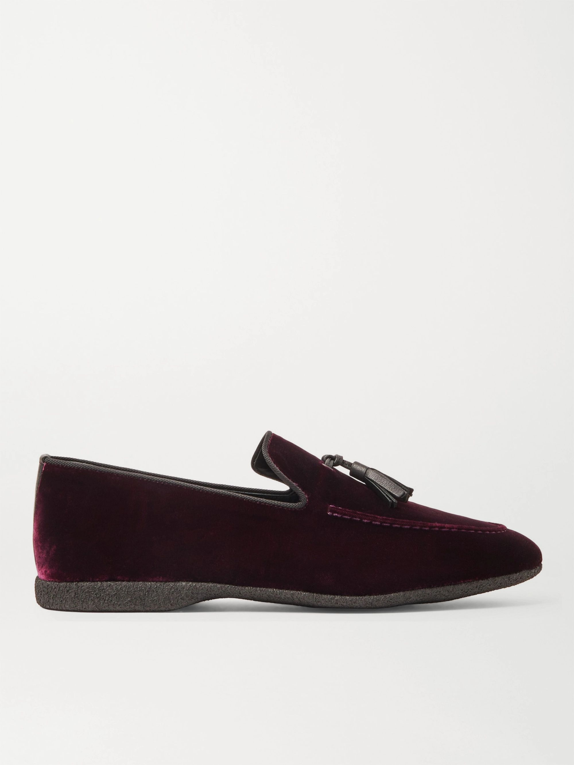 Paul Stuart Hope Leather and Grosgrain-Trimmed Velvet Tasselled Slippers