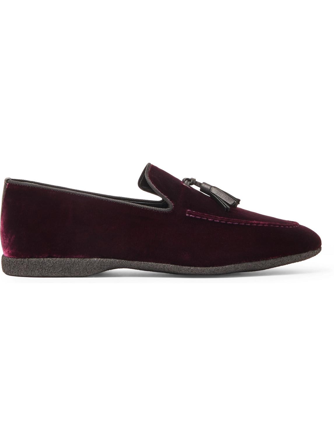 paul stuart - hope leather and grosgrain-trimmed velvet tasselled slippers - men - burgundy - 9