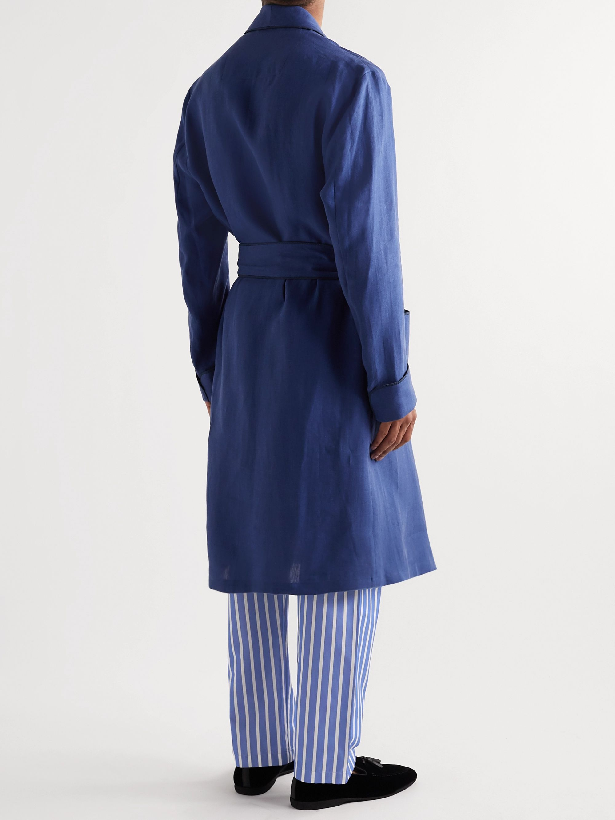 PAUL STUART Striped Cotton-Poplin Pyjama Trousers