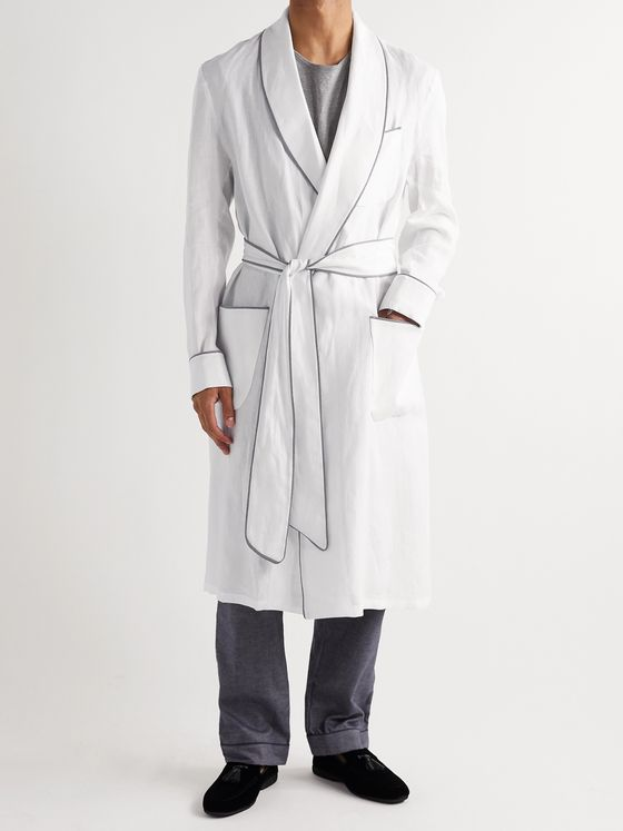 PAUL STUART Piped Linen Robe