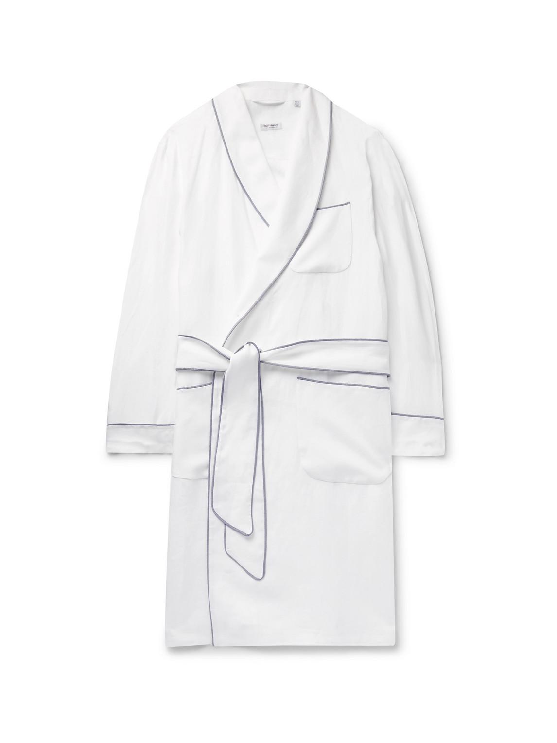 paul stuart - piped linen robe - men - white - m