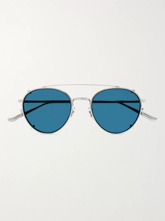 THE ROW + Oliver Peoples Brownstone 2 Round-Frame Silver-Tone Titanium Sunglasses